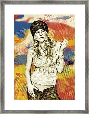 Fergie - Stylised Drawing Art Poster Framed Print by Kim Wang