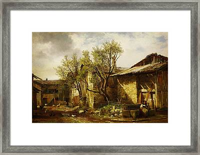 Ferme Avec Paysanne Et Animaux By Alexandre Calame Framed Print by MotionAge Designs