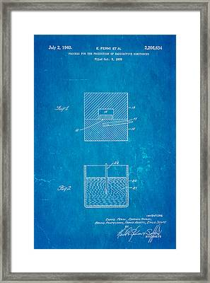 Fermi Radioactive Substance Manufacture Patent Art 1940 Blueprint Framed Print
