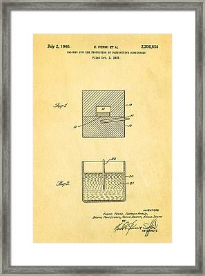 Fermi Radioactive Substance Manufacture Patent Art 1940 Framed Print by Ian Monk