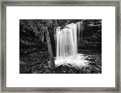 Fern Falls Black And White Framed Print by Mark Kiver