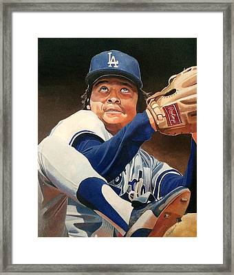 Fernando Vanezuela - Los Angles Dodgers Framed Print by Michael  Pattison