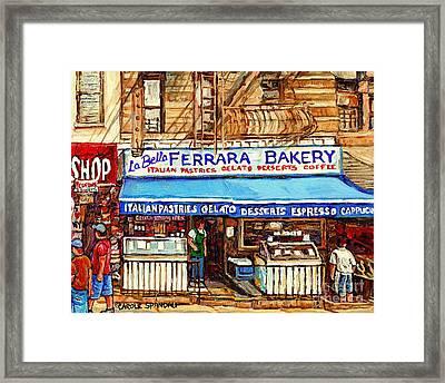 Ferrara Bakery New York City Bakery Paintings Carole Spandau Framed Print by Carole Spandau