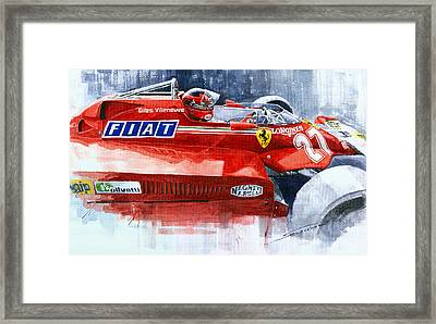 Ferrari 126c Silverstone 1981 British Gp Gilles Villeneuve Framed Print by Yuriy Shevchuk