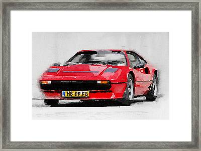 Ferrari 208 Gtb Turbo Watercolor Framed Print by Naxart Studio