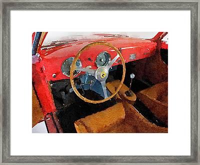 Ferrari 225 S Berlinetta Interior Watercolor Framed Print by Naxart Studio