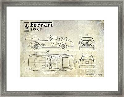Ferrari 250 Gt Blueprint Antique Framed Print