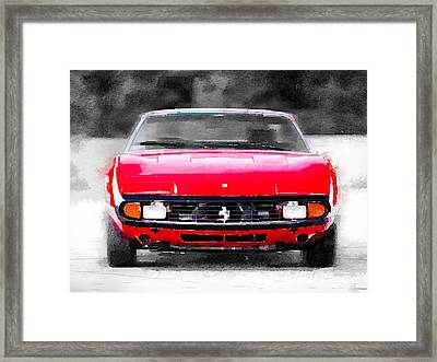 Ferrari 365 Gtc4 Front Watercolor Framed Print by Naxart Studio