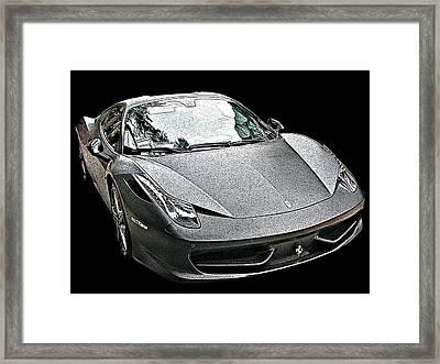 Ferrari 458 Italia In Matte Black Front View Framed Print