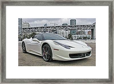 Ferrari 458 Italia In White Framed Print by Samuel Sheats