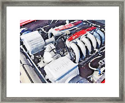Ferrari 512 Tr Testarossa Engine Watercolor Framed Print by Naxart Studio