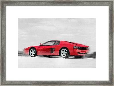 Ferrari 512 Tr Testarossa Watercolor Framed Print by Naxart Studio