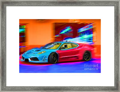 Framed Print featuring the photograph Ferrari Baby Blue by Gunter Nezhoda