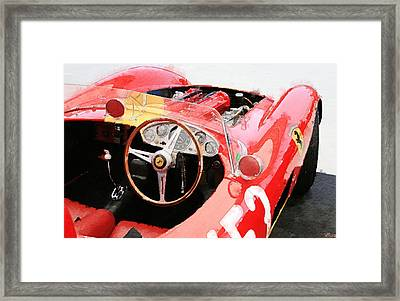 Ferrari Cockpit Monterey Watercolor Framed Print by Naxart Studio