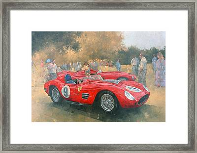 Ferrari, Day Out At Meadow Brook Oil On Canvas Framed Print