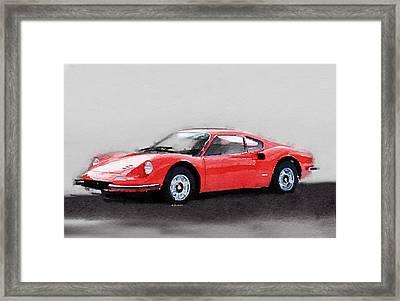 Ferrari Dino 246 Gt Watercolor Framed Print by Naxart Studio