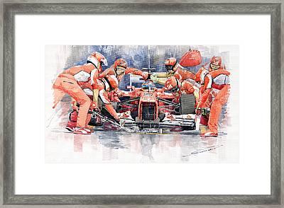 2012 Ferrari F 2012 Fernando Alonso Pit Stop Framed Print by Yuriy  Shevchuk