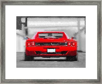 Ferrari F512 Rear Watercolor Framed Print by Naxart Studio