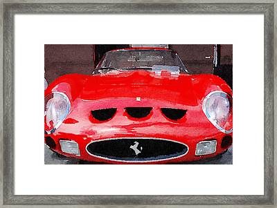 Ferrari Front End Monterey Watercolor Framed Print by Naxart Studio