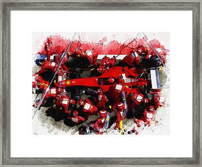 Ferrari Make Changes In Pit Lane Framed Print