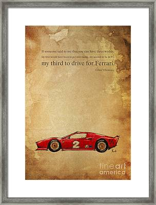 Ferrari Number 2 - Quote Framed Print by Pablo Franchi
