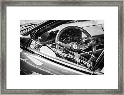 Ferrari Testa Rossa Tr Steering Wheel Emblem -0376bw Framed Print