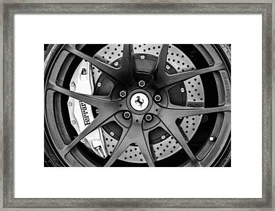 Ferrari Wheel Emblem - Brake Emblem -0430bw Framed Print by Jill Reger