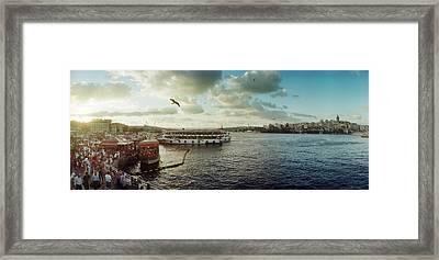 Ferries Along The Bosphorus, Istanbul Framed Print