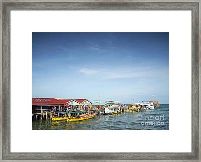 Ferries At Koh Rong Island Pier In Cambodiaferries At Koh Rong I Framed Print
