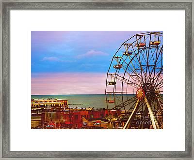 Ocean City New Jersey Ferris Wheel And Music Pier Framed Print