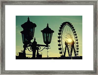 Ferris Wheel At Sunst At The Octoberfest In Munich Framed Print