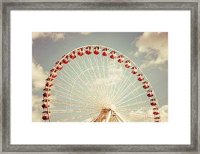 Ferris Wheel Chicago Navy Pier Vintage Photo Framed Print by Paul Velgos