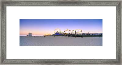 Ferris Wheel Lit Up At Dusk, Santa Framed Print by Panoramic Images