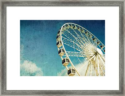 Ferris Wheel Retro Framed Print by Jane Rix