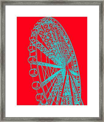 Ferris Wheel Silhouette Turquoise Red Framed Print