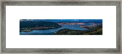Framed Print featuring the photograph Ferrol's Estuary Panorama From La Bailadora Galicia Spain by Pablo Avanzini