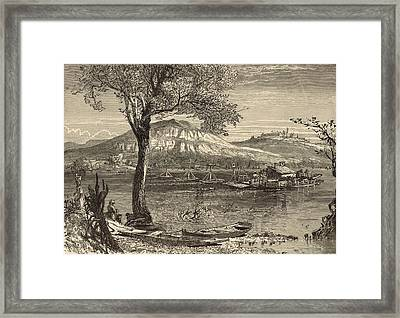 Ferry At Chattanooga 1872 Engraving By Harry Fenn Framed Print by Antique Engravings
