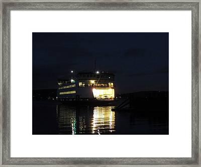 Ferry At Night Framed Print
