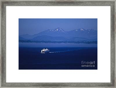 Ferry Boat In Puget Sound With Olympic Mountains Framed Print
