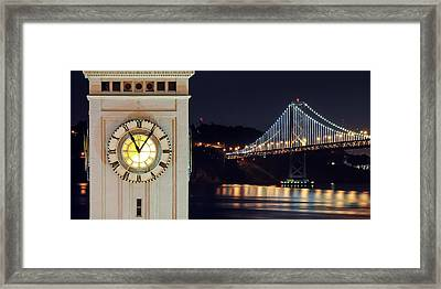 Ferry Building And Bay Bridge Framed Print