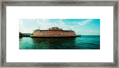 Ferry In A River, Staten Island Ferry Framed Print by Panoramic Images