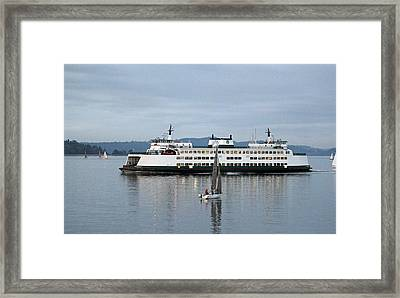 Ferry Issaquah And Sailboats Framed Print by E Faithe Lester