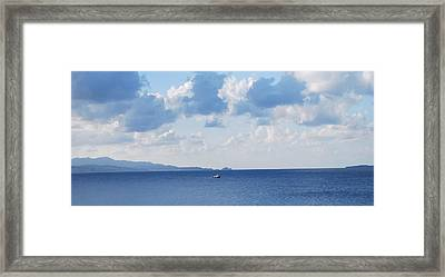 Ferry On Time Framed Print by George Katechis