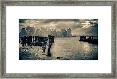 Ferry To New York Framed Print by David Hahn