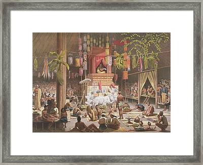 Festival In A Pagoda At Ngong Kair Framed Print by Louis Delaporte