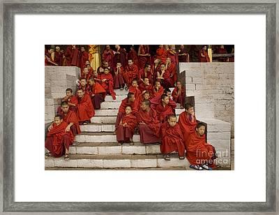 Framed Print featuring the digital art Festival In Bhutan by Angelika Drake