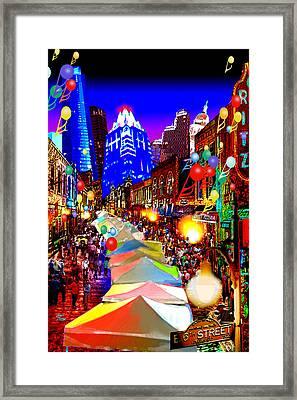 Festive 6th Street Austin Framed Print by Dan Terry