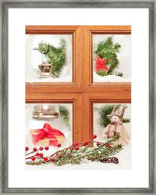 Festive Christmas Window Framed Print by Amanda Elwell