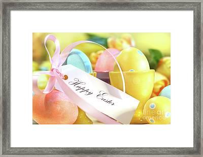 Festive Easter Eggs Framed Print by Sandra Cunningham
