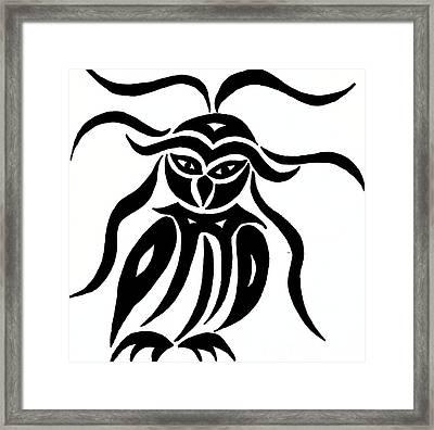 Festive Owl Framed Print by Beth Akerman